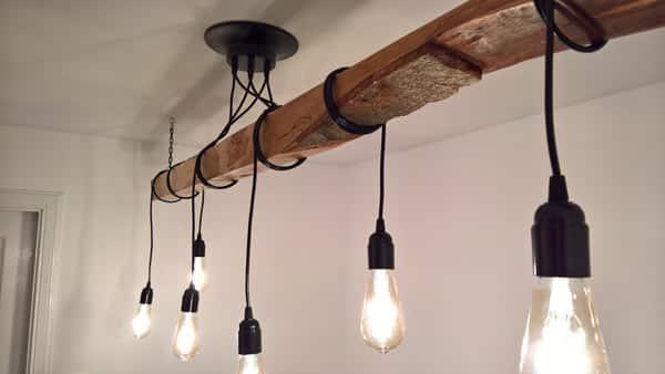 handmade hanging timber light fitting