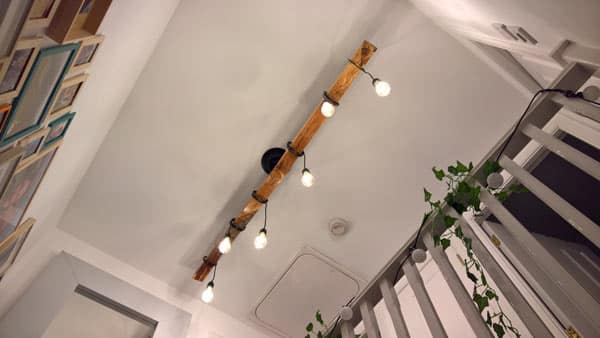 handmade timber light fitting