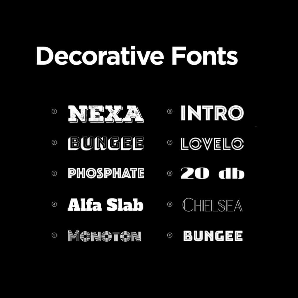 examples of decorative fonts