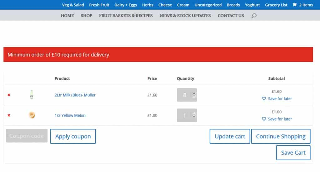 shopping cart improvement for E-Commerce website in Inverclyde