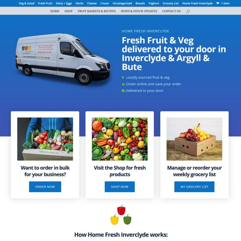 E-Commerce website for food business in Inverclyde