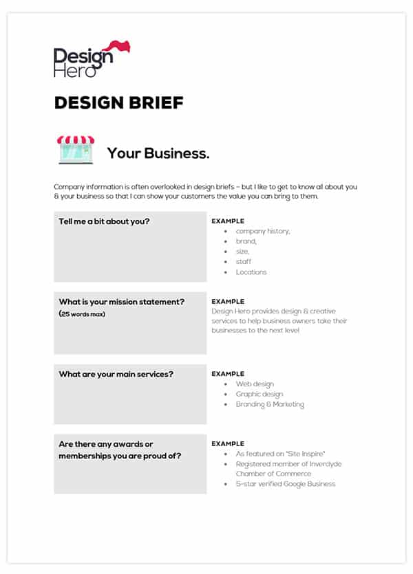 download free web design brief template