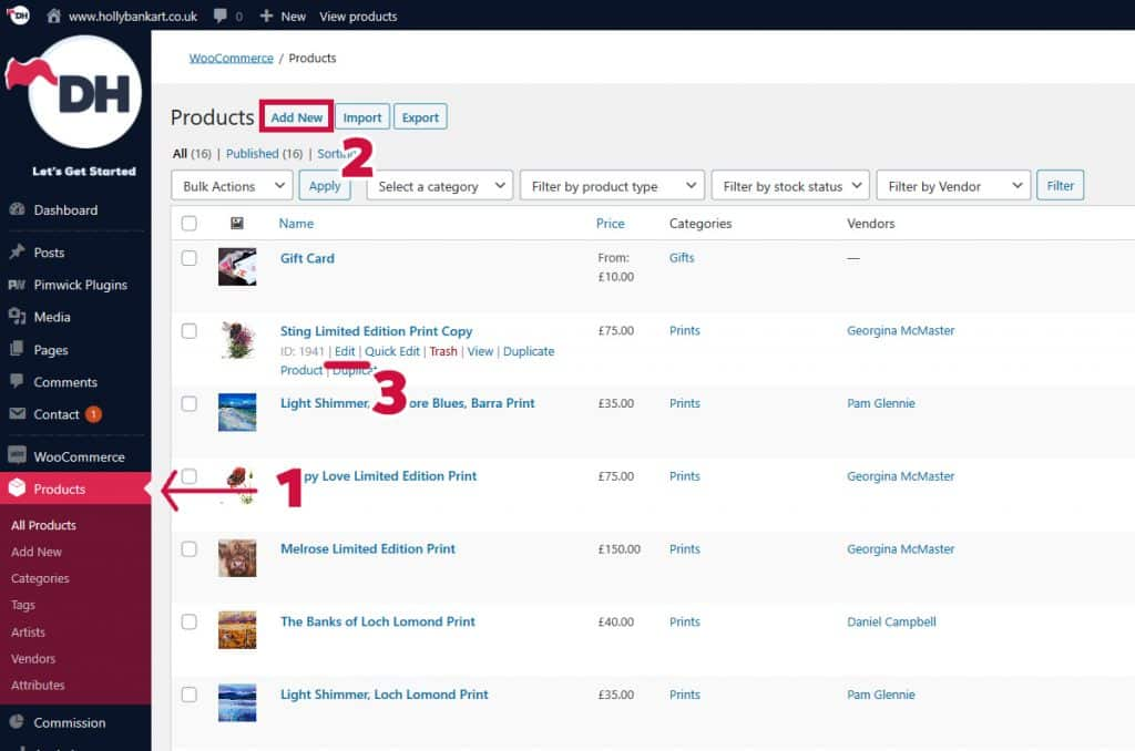 how to edit products in E-Commerce shop