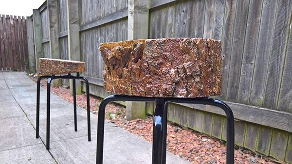 Homemade DIY garden log stool
