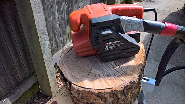 sanding log tops for log stool set