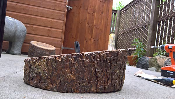 angled logs for stool top
