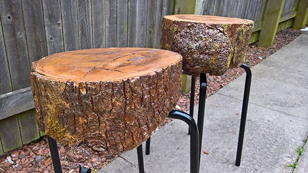 homemade log stool for garden