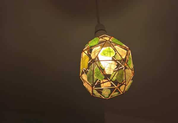 handmade seaglass lampshade with copper wire