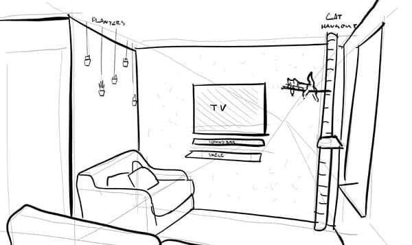sketch of osb media feature wall