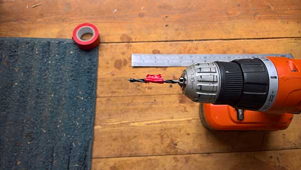 drilling depth trick for timber bench