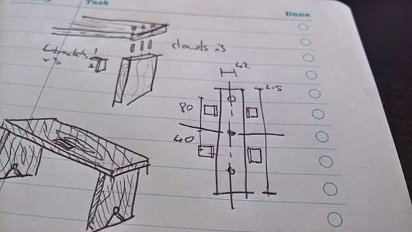 sketch and concept for diy timber bench
