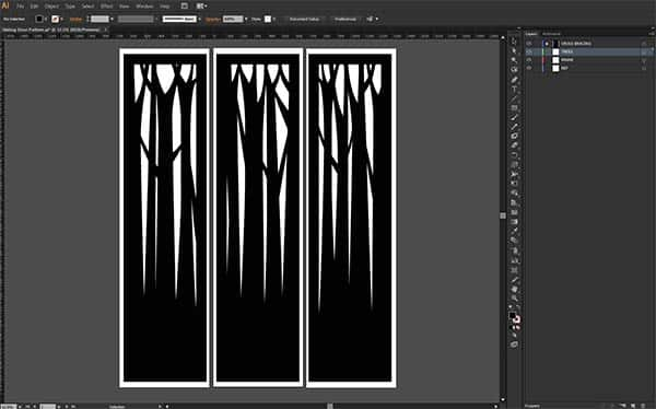 concept sketch of homemade timber sliding screen doors