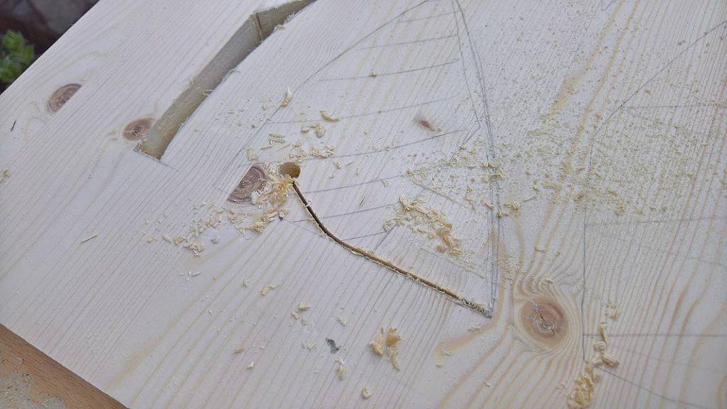 predrill holes for cutting sliding doors