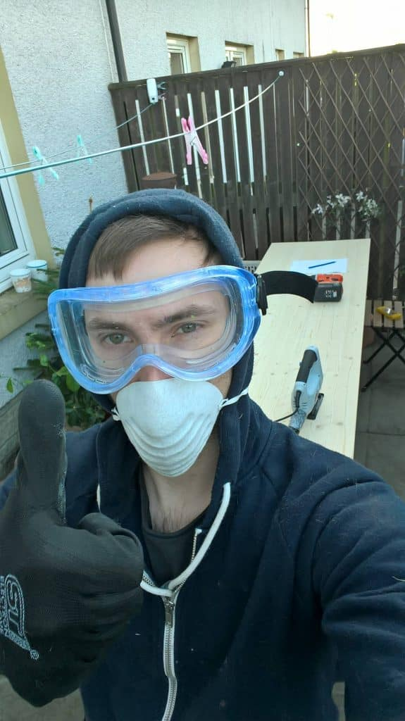 safety gear for cutting timber sliding screen doors