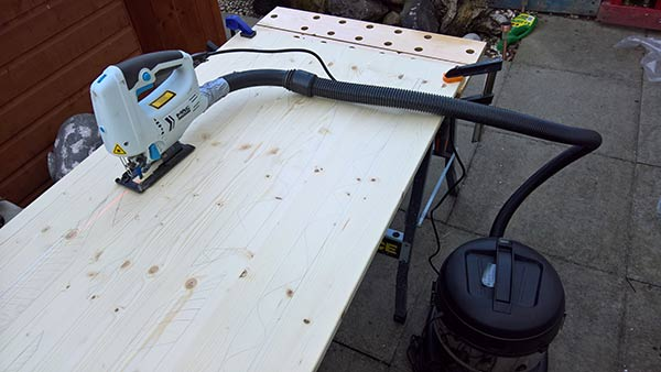 jigsaw cutting of homemade sliding timber screen doors