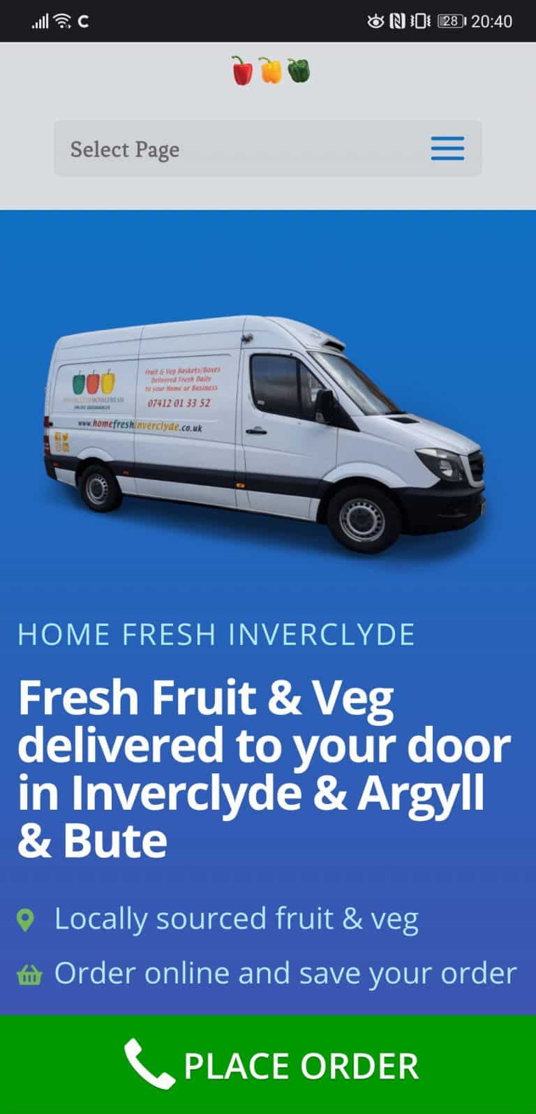 mobile website for food business in Inverclyde