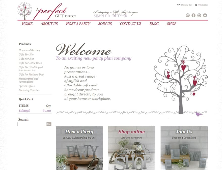 An Ecommerce website design for A Perfect Gift Direct