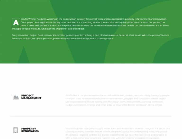 web design for AGM Consutrction website