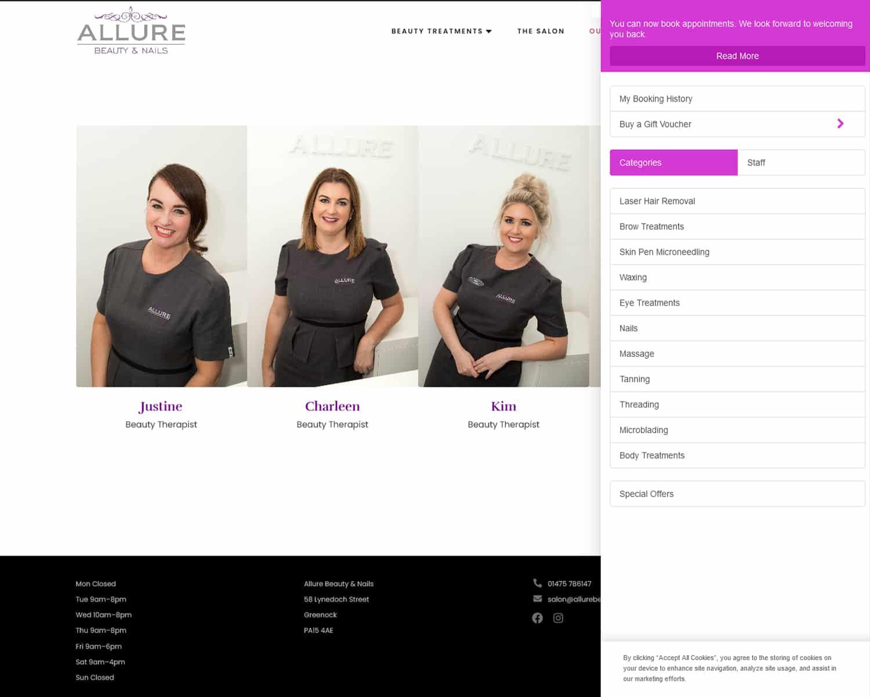 beawuty salon online booking website