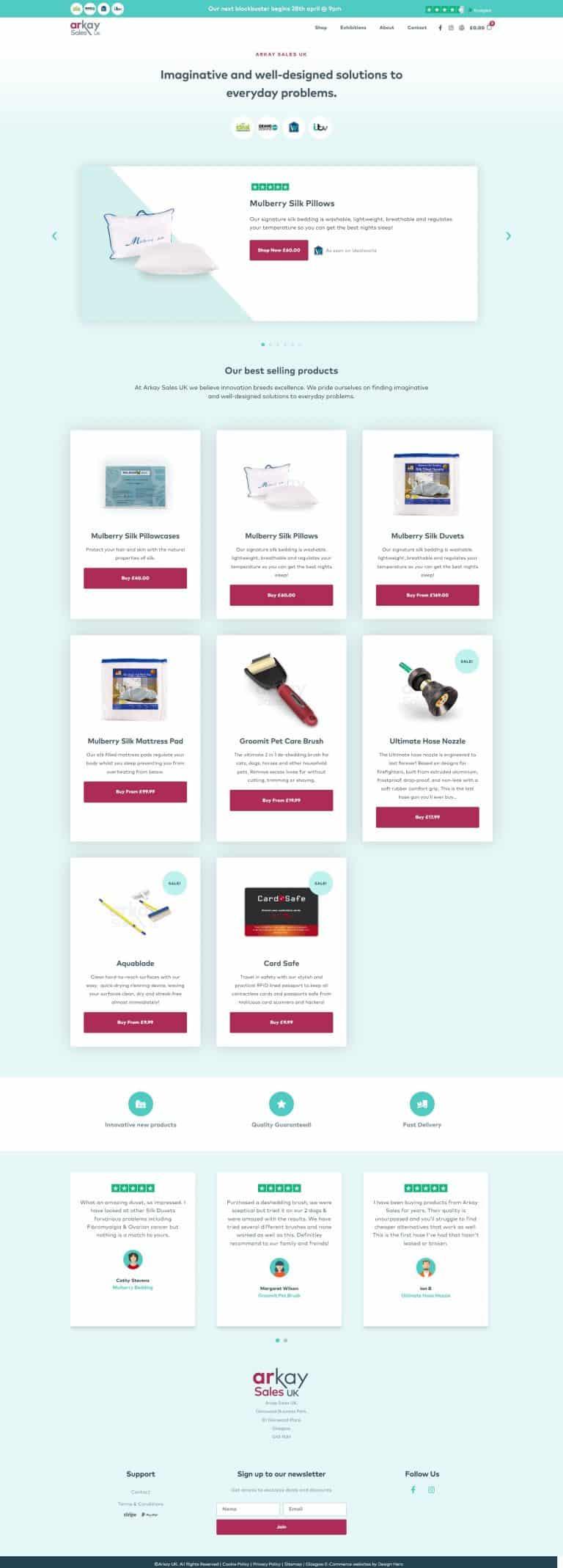 web design for E-Commerce Wordpress website