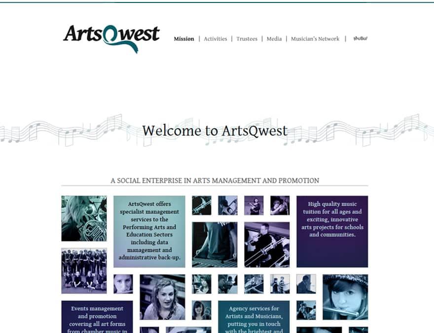 design of members website for Artsqwest