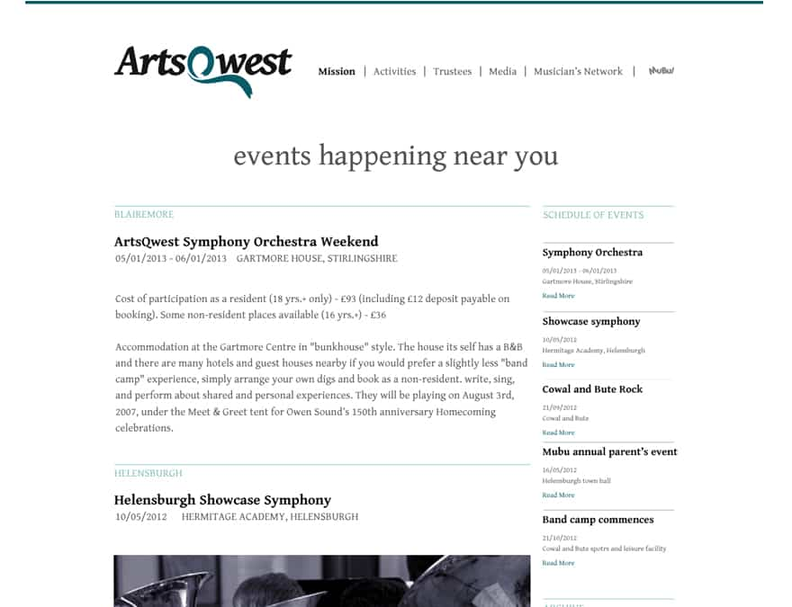 events page for charity website