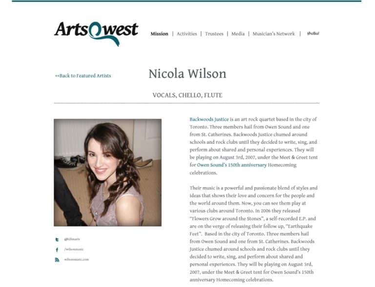 Design of musicians profile website