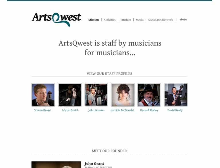 musical charity website design