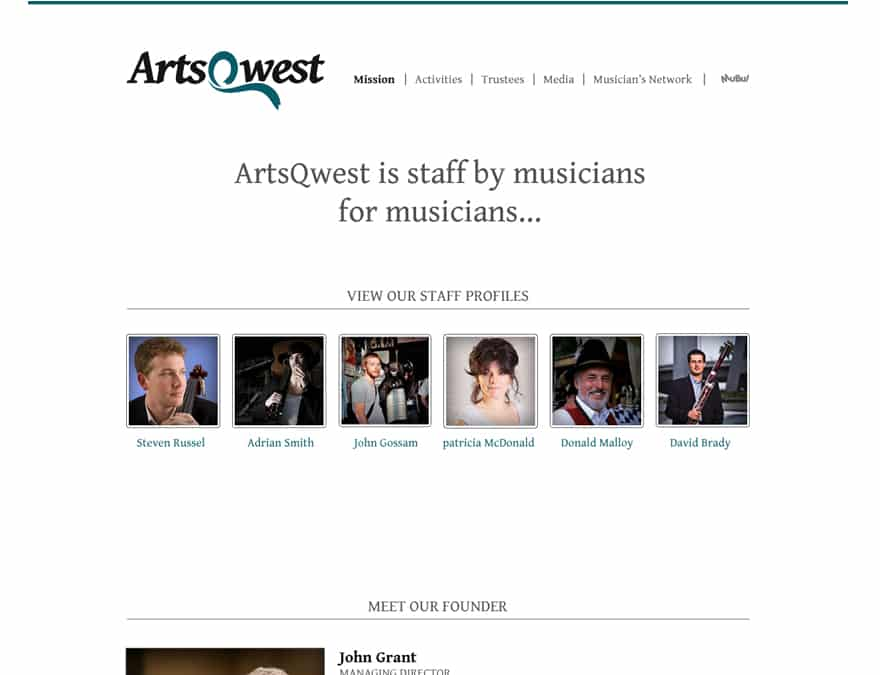 musical charity website design