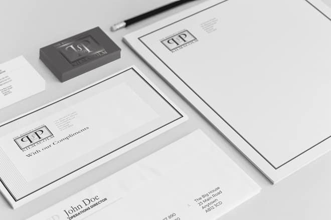 design of business stationery for Bishops House
