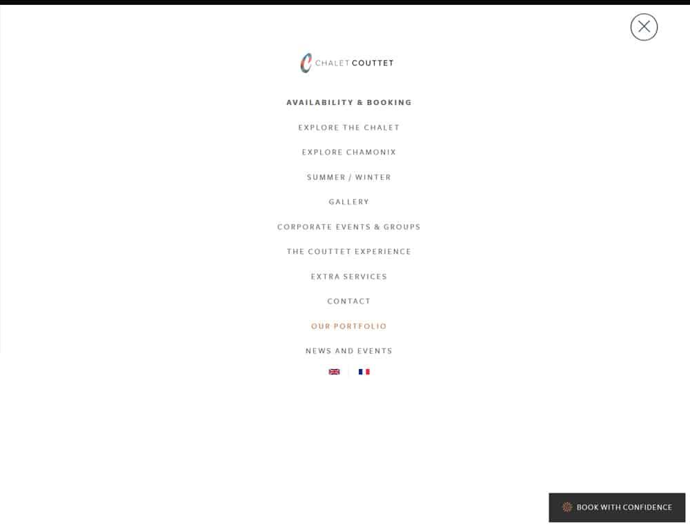 full screen popup menu for booking website