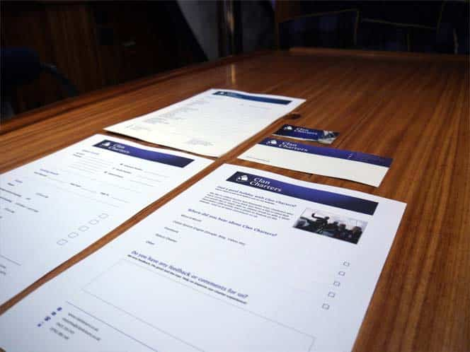 branded corporate stationery for Clan Charters