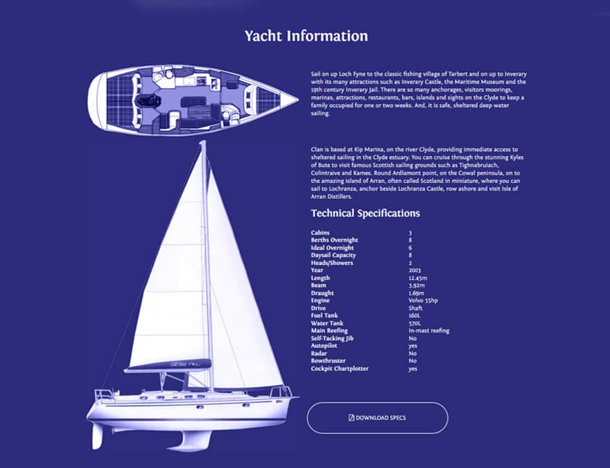 Yacht specs for boat rental website