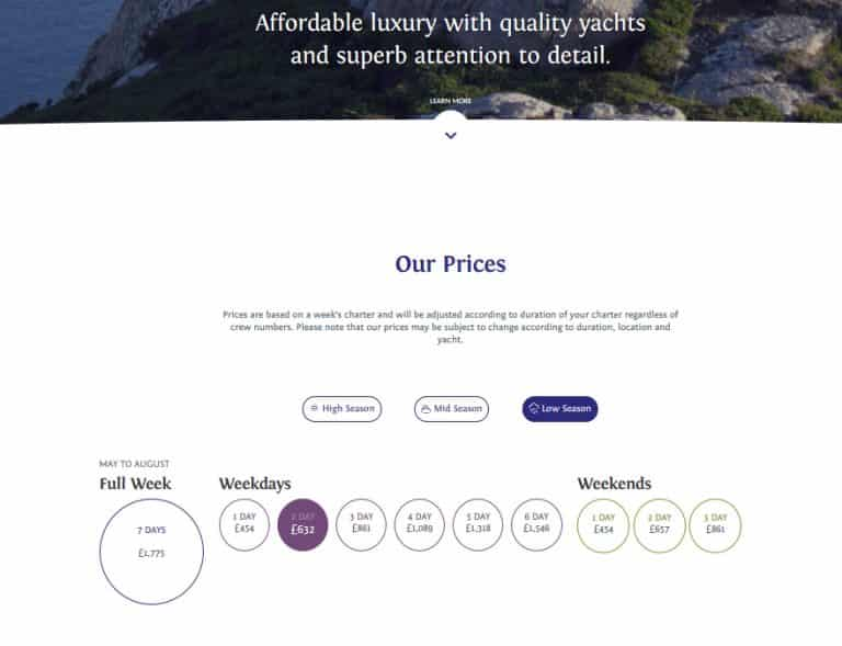 pricing and booking for tourism website