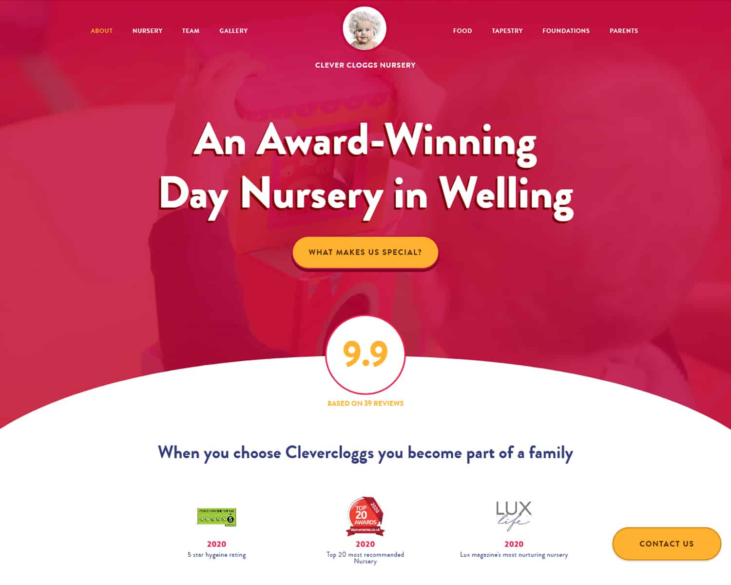 landing page website for childcare nursery