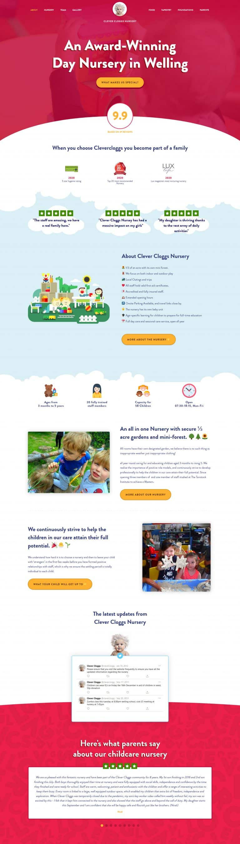 web design for childcare nurseries