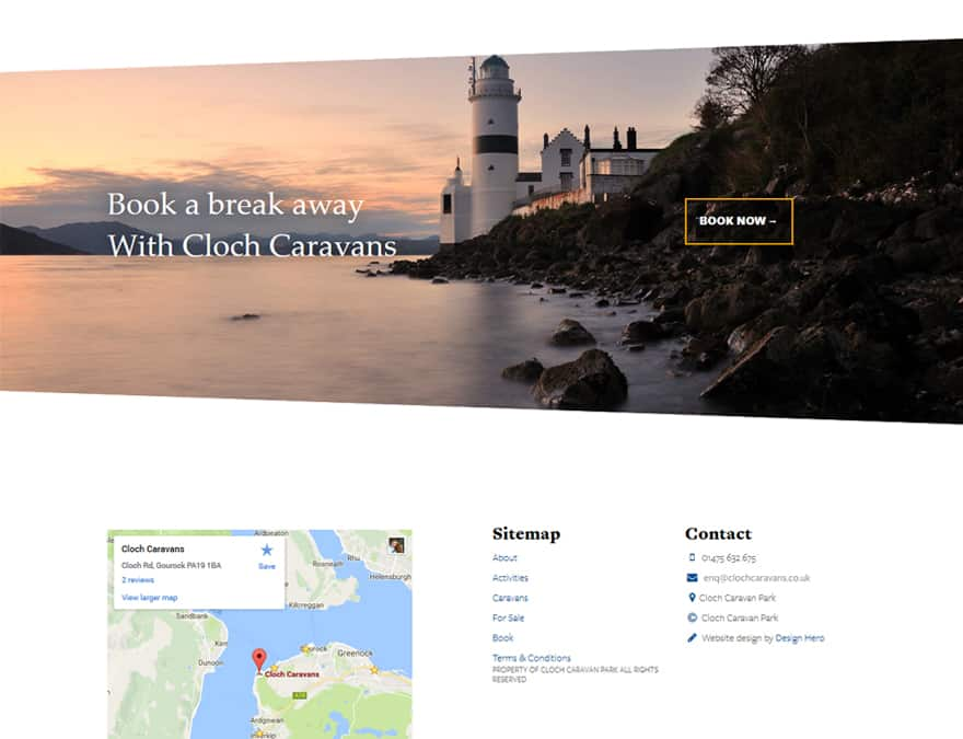 bookings page for cloch caravans website