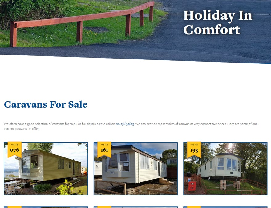 Online sales page for cloch caravans website