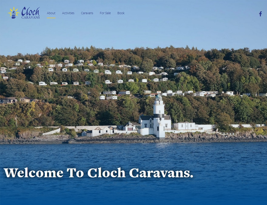 Homepage for Cloch Caravans brochure website