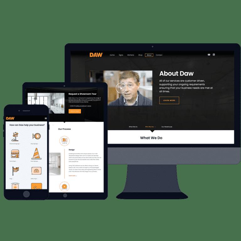 Design of mobile responsive website on desktop, mobile and tablet
