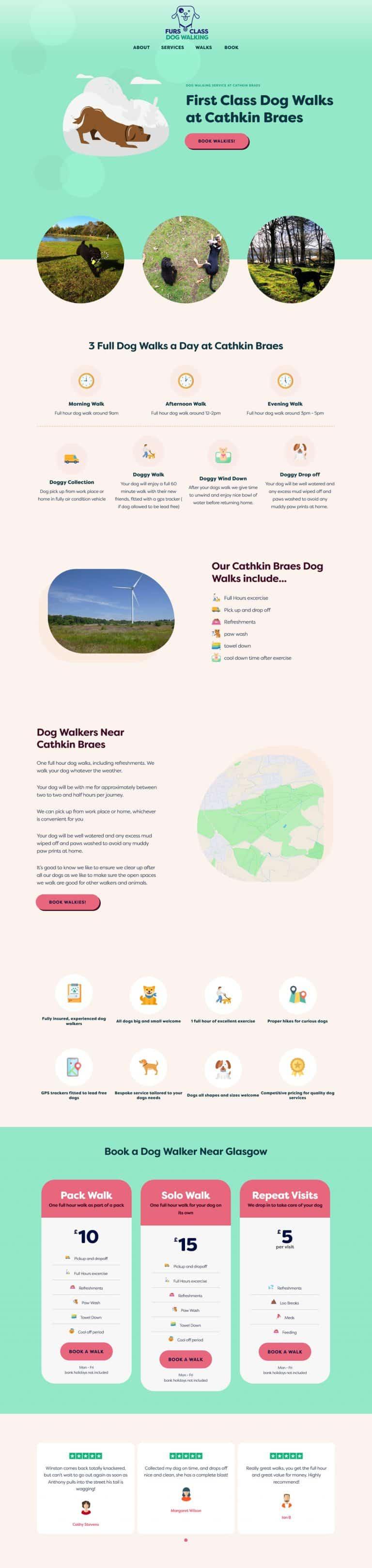 website for dog walkers near Hamilton