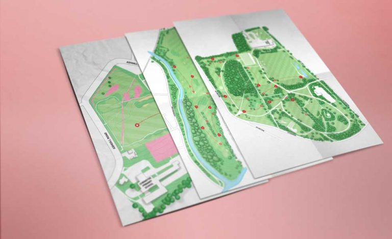 hand illustrated course map for disc golf