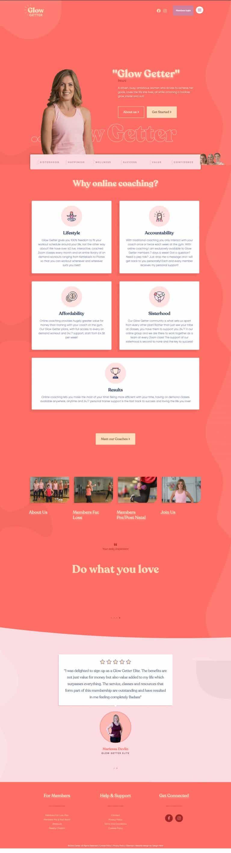 membership website design for Greenock Coaching business