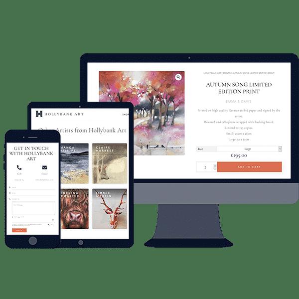 responsive website design for online ecommerce art shop business