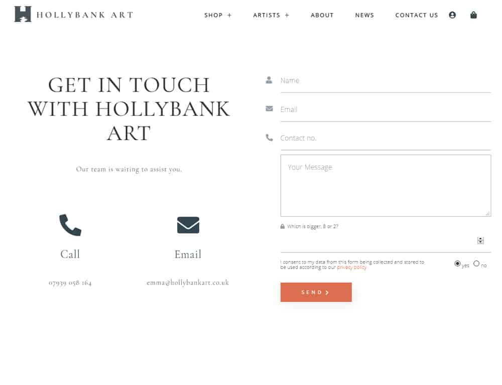 Contact page for E-Commerce website