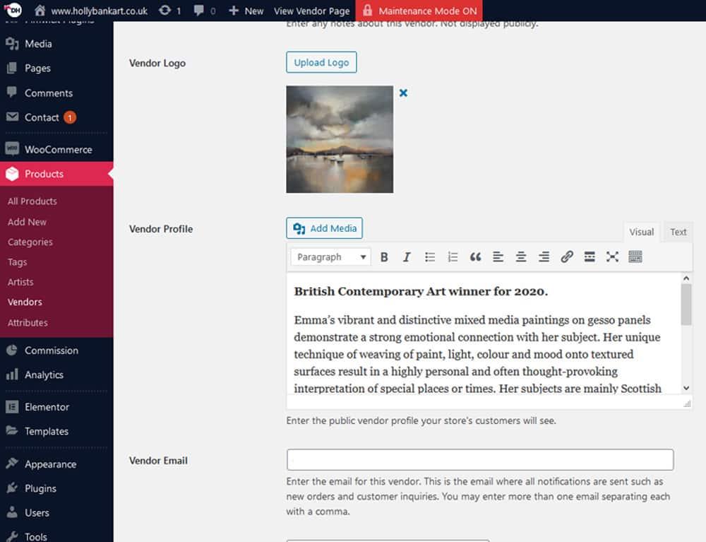 Vendor marketplace dashboard for E-Commerce website
