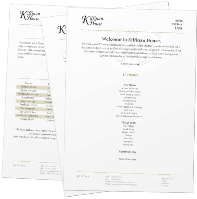 Welcome pack design for Kilfinan House