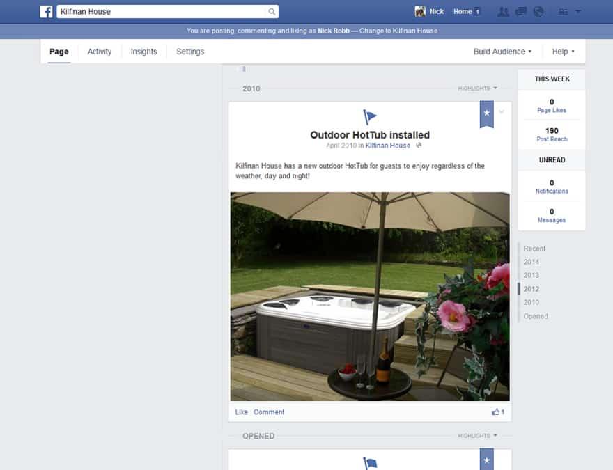 Facebook marketing for Kilfinan House