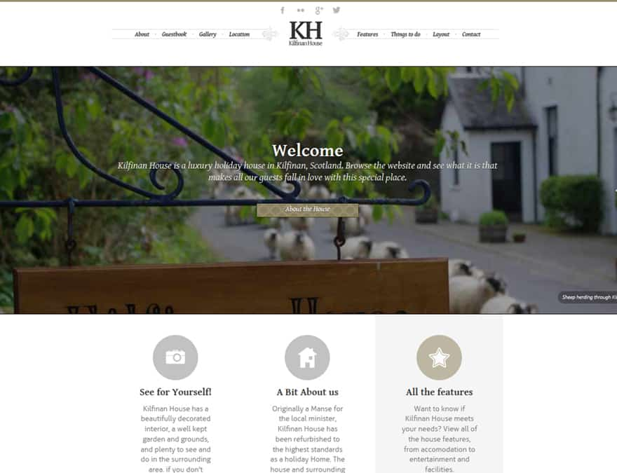 homepage for hotel website design