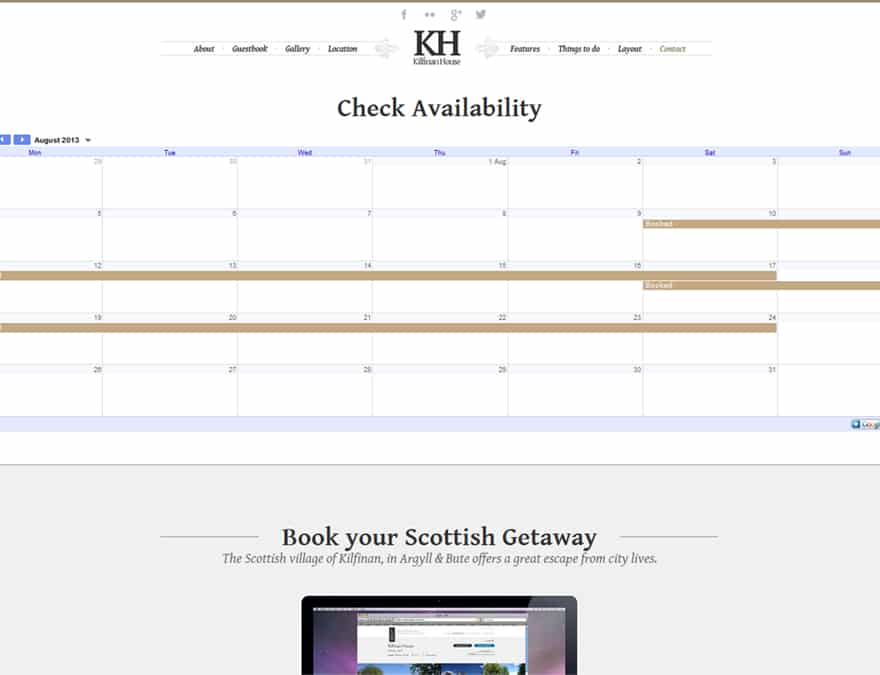 booking calendar integrationabout page for hotel website design